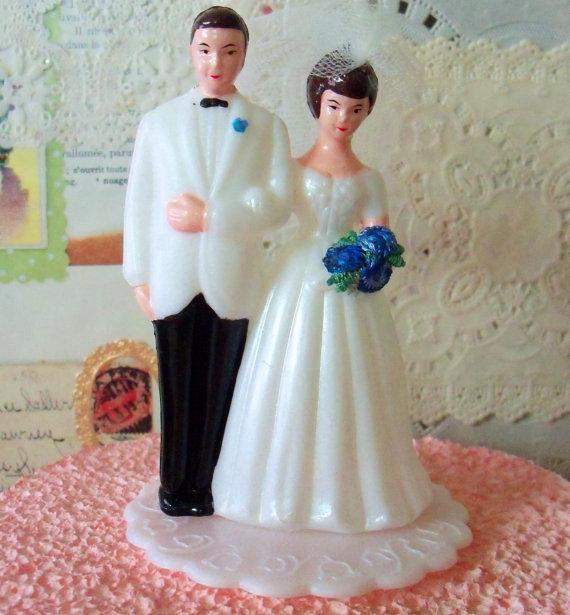 modern vintage bridal wedding cake topper bride and groom diy bridal shower cake decoration white tuxedo blue flowers